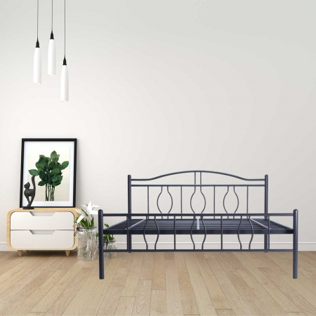 Algo | Queen Size Metal Bed Powder Coated - Graphite Grey