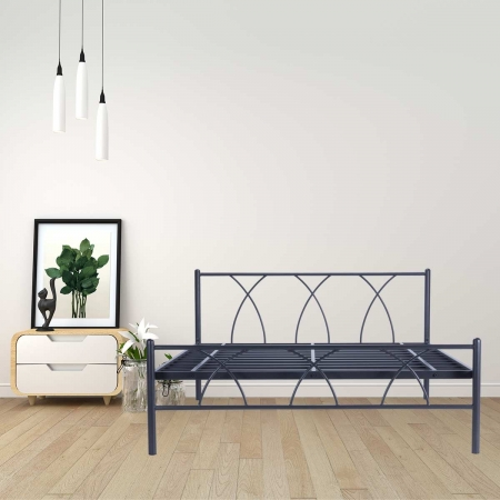 Alpha | Queen Size Metal Bed Powder-Coated Graphite Grey