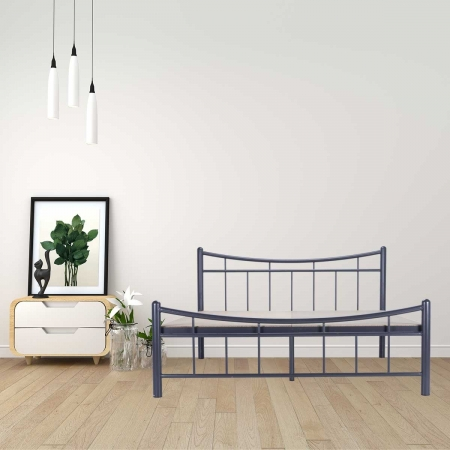 Ellipse | Queen Size Bed With 12mm Plywood Powder Coated - Graphite Grey