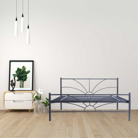 Sun | Queen Size Metal Bed Powder-Coated Graphite Grey