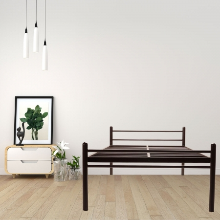 Basics | Double Size Metal Bed Without Plywood Powder Coated - Brown