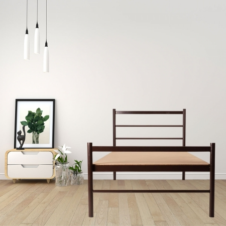 Batz | Metal Single Size Bed With 15mm Particle Board Powder Coated - Brown