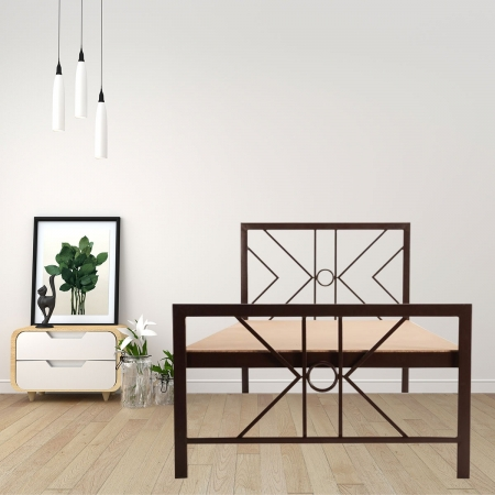 Geometric | Single Size Metal Bed With 12mm Plywood Powder Coated - Brown