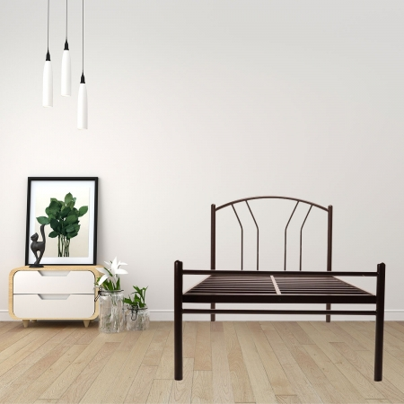 Lane | Single Size Metal Bed Powder Coated - Brown