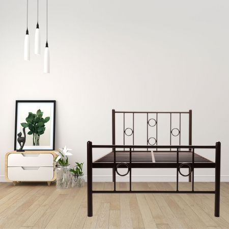 Roadster | Single Size Metal Bed Powder Coated - Brown