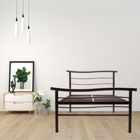 Wave | Double Size Metal Bed Without Plywood Powder Coated - Brown