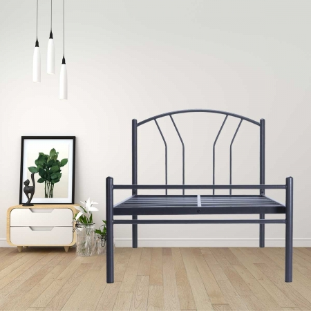 Lane | Single Size Metal Bed Powder Coated - Graphite Grey