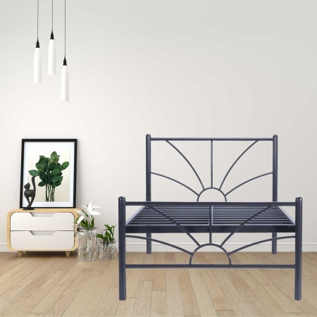 Sun | Single Size Metal Bed Powder Coated - Graphite Grey