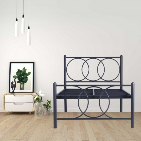 Union | Single Size Metal Bed Powder Coated - Graphite Grey