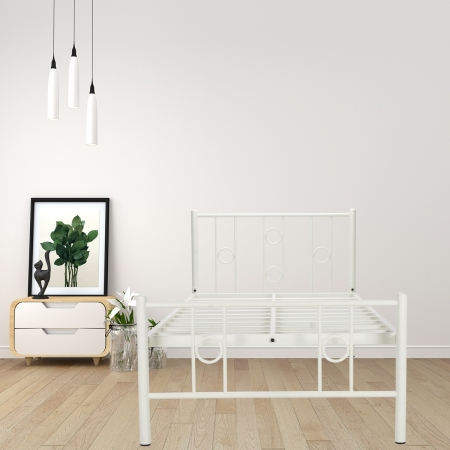 Roadster Metal Single Size Bed Powder-Coated White