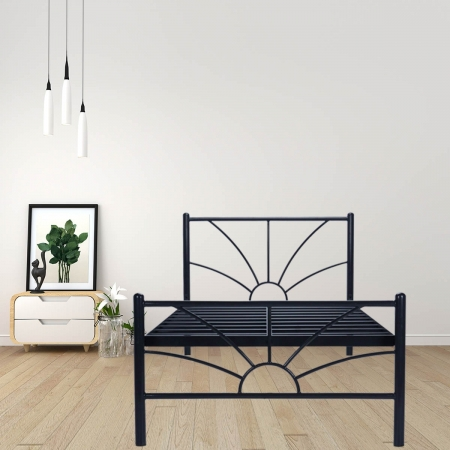 Sun | Single Size Metal Bed Powder Coated - Black