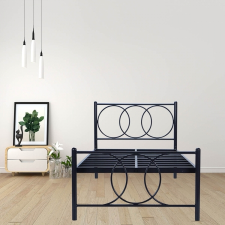 Union Single Size Metal Bed Powder-Coated Black