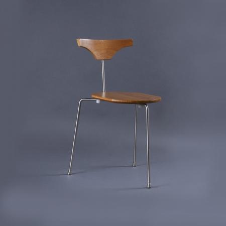 Arne Metal / Solid Wood Chair - Natural