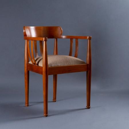 Bucket Teak Wood Chair - Fabric Upholstered Seat With Teak Wood Frame Legs