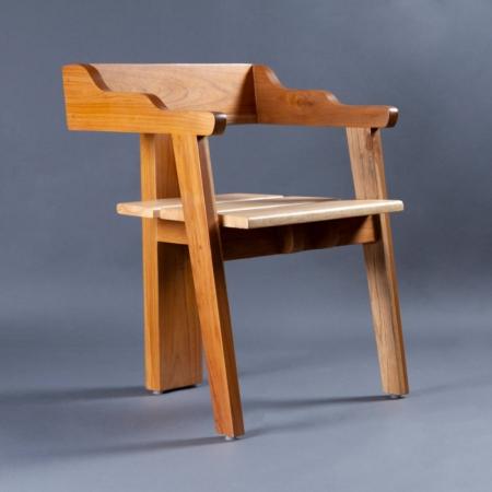 Uilli Teak Wood Chair - Rubber Wood Seat & Teak Wood Frame Legs