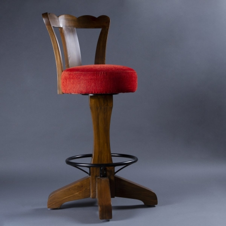 Canton Bar Stool - Solid Wood Frame / Legs With Metal Footrest & Fabric Upholstered Seat