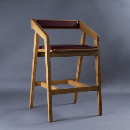 Wharf Bar Stool - Leatherette Upholstered Seat & Backrest With Solid Wood Frame Legs