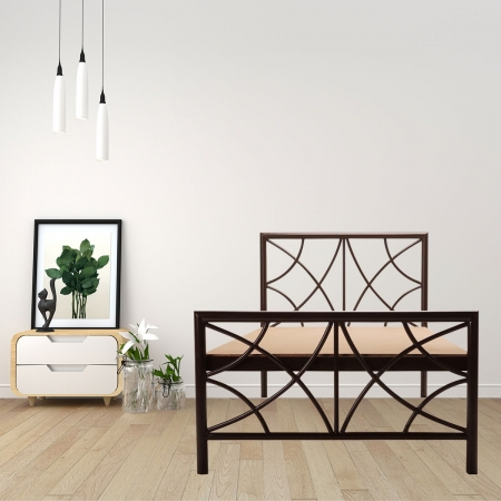 Quaker | Single Size Metal Bed With 12mm Plywood Powder Coated - Brown