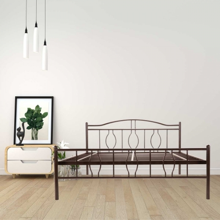 Algo | Queen Size Metal Bed Powder-Coated Brown