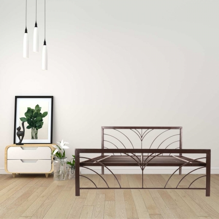 Fleur | Queen Size Metal Bed Powder-Coated Brown
