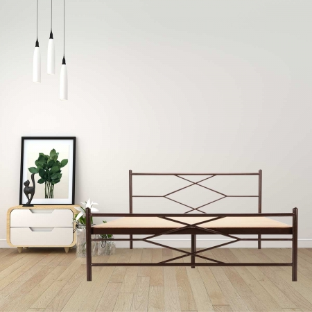 Maze | Queen Size Metal Bed With 12mm Plywood Powder Coated - Brown